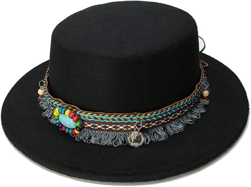 L.W.SUSL Wide Brim Fedora Pure Felt Bowler Hat Stitching Bucket Hat for Women British Style Feminino Jazz Church Men