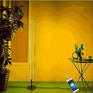 ZHIRCEKE Lámpara LED 24W en Stand Dimmable Lámpara de RGBW WiFi conectó WiFi, Compatible Alexa Google Wizard Lámpara de pie, Control táctil/Cambio de teléfono Inteligente, Negro