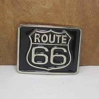 Buckes - Wholesale zinc Alloy Route 66 Cowboy Jeans Gift Belt Buckle 01185 Silver Finish 4cm Width Loop