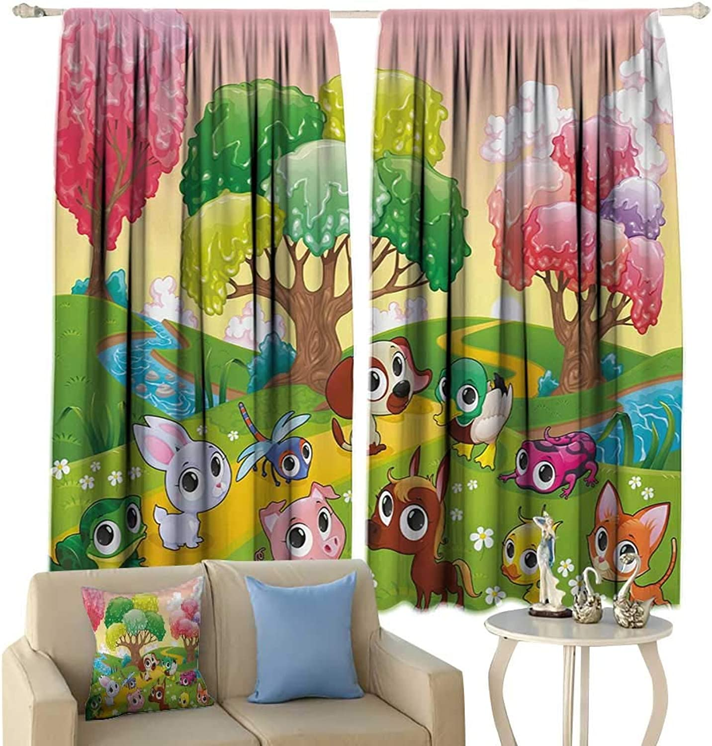 Sliding Curtains Cartoon Kids Nursery Theme Animals in The Forest with Nice Flowers Illustration Artwork Darkening and Thermal Insulating Multicolor
