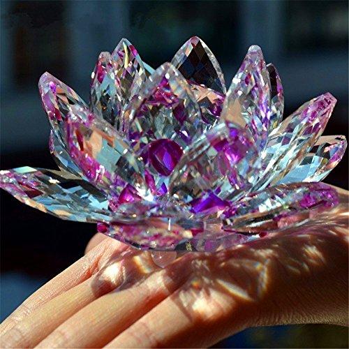Bouquet de fleurs de lotus en cristal - Grande taille - Artisanat - Décoration pour la maison - De toutes les couleurs - Cadeau pour un anniversaire, un mariage, Verre cristal, violet