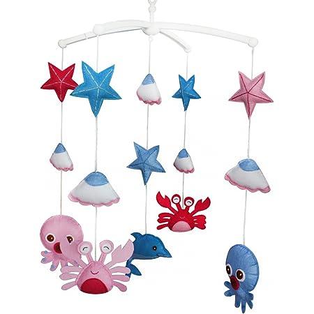 Animaux de l'océan Décoration de lit bébé Musique Berceau Mobile Cadeaux faits à la main Jouet suspendu