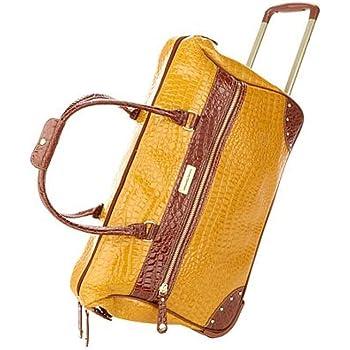Samantha Brown Croco-Embossed Trim Drop Bottom Weekender Bag Koi Orange