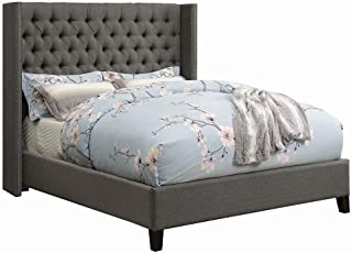 Scott Living Benicia Grey Demi-Wing Eastern King Upholstered Bed with 5 Slatted Panel Design