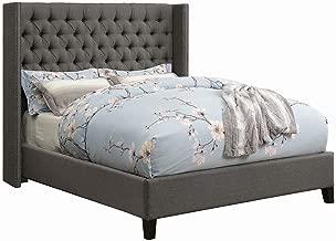 Scott Living Benicia Grey Demi-Wing Eastern King Upholstered Bed with 5 Slatted Panel Design