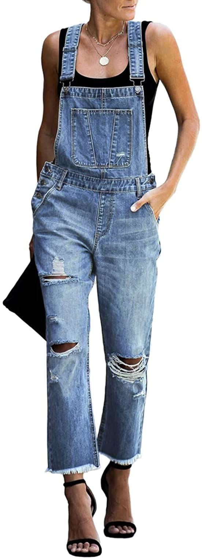 luvamia Womens Casual Stretch Adjustable Denim Bib Overalls Jeans Pants Jumpsuits