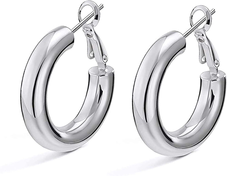 Chunky Tube Hoop Earrings,14K Gold Plated 5MM Thick Hoop Earrings For Women And Girls, Diameter 25MM-50MM