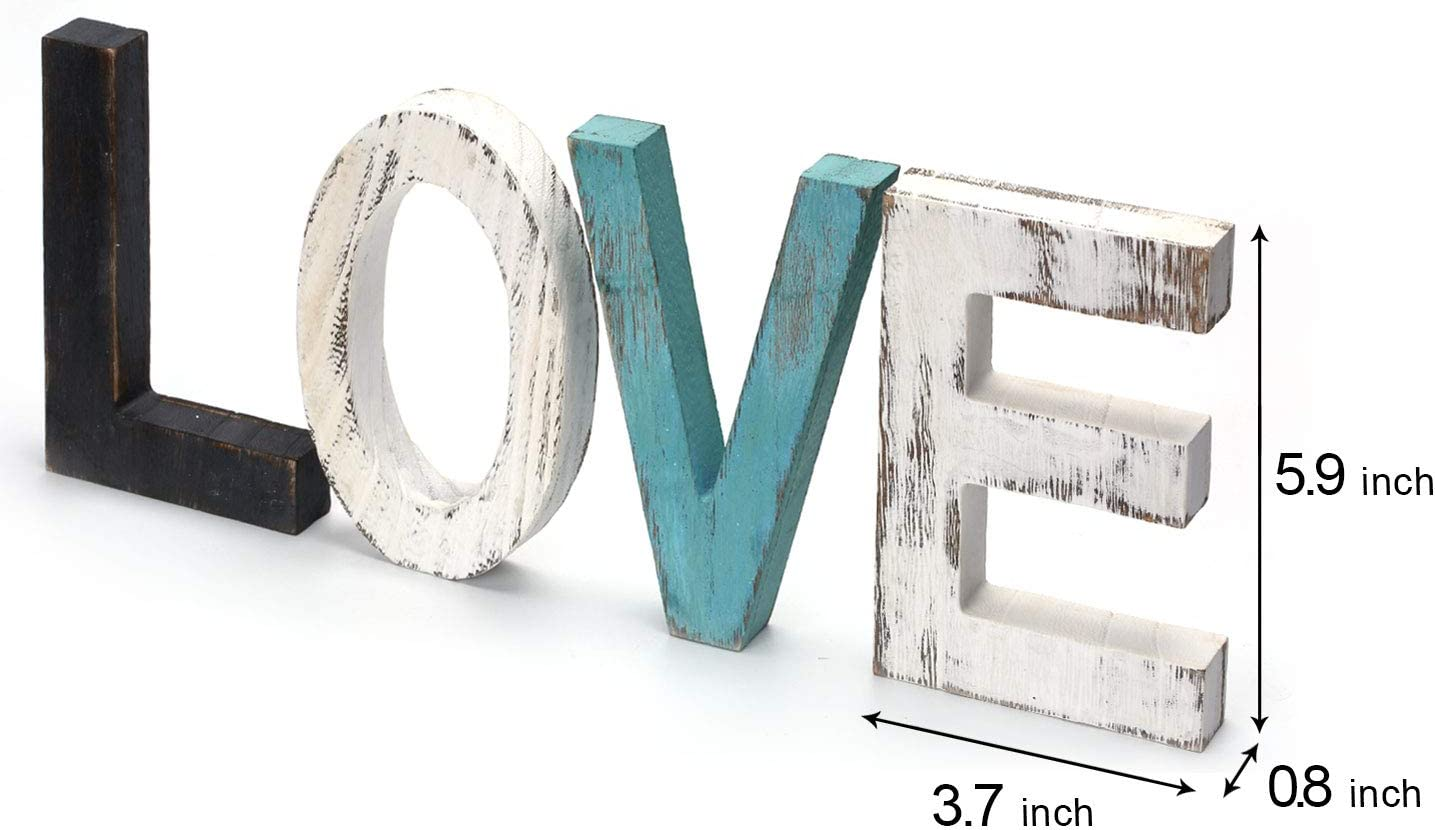 Love Wall Decor Teal Decor, Turquoise Decor Love Sign Shelf Decor Accents, Love Signs for Home Decor Wall Blue Decor Mantle Decorations for Living Room : Home & Kitchen