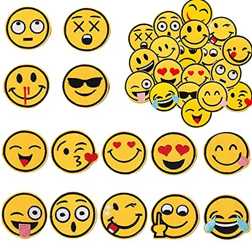 Liuer 52PCS Patches zum Aufbügeln,Aufnäher Sticker Applikationen Nähen Oder Aufbügeln Niedlich DIY Kleidung Aufkleber für T-Shirt Jeans Kleidung Taschen Rucksäcke Schuhe Hüte,20 Emoji-Expression