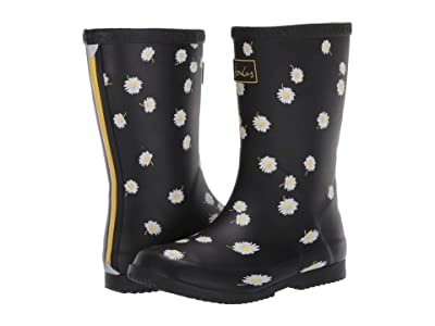 Joules Kids Roll Up Welly (Toddler/Little Kid/Big Kid) (Black Daisy) Girl