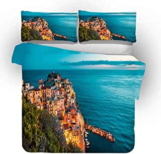 3D Digital Printing Duvet Cover Set, Decorative 3 Piece Bedding Set with 2 Pillow Sham, 3D Bedding Set City Scenery Print, College Bedding for Girls and Boys,B,240x220cm(94.5x86.6inches)