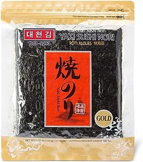 Daechun Sushi Nori (50 Full Sheets), Resealable, Gold Grade, Product of Korea