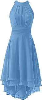 KevinsBridal Women's High Low Short Bridesmaid Dresses Chiffon Halter Prom Dress