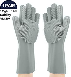 VMIZIV Magic SakSak Silicone Gloves | Pair Of Rubber Scrubbing Gloves For Dishes | Reusable Brush Scrubber Heat Resistant Gloves for Cleaning, Household, Dish Washing, Washing Car, Pet Hair Care