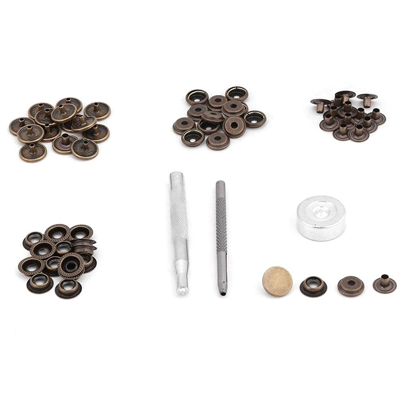 15 Set Snap Fastener Kit Button Tool Press Studs Fastener Snap on Set Clothing Snaps Kit Fixing Tool for Fabric, Leather Craft(bronze)