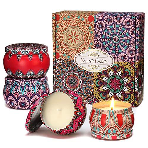 Duftkerzen Geschenk-Set mit 4 Aromatherapie-Kerzen, natürliches Sojawachs, Dosenkerze, 25 Stunden Brenndauer, tragbares Aromatherapie-Set für Frauen, Bad, Yoga, Spa, Zuhause, Geburtstag, Stressabbau