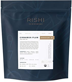 Rishi Tea Cinnamon Plum Loose Leaf Herbal Tea | Caffeine-Free, Organic, Fruity, Full-Bodied | 1 lb Bag, Makes 75 Cups