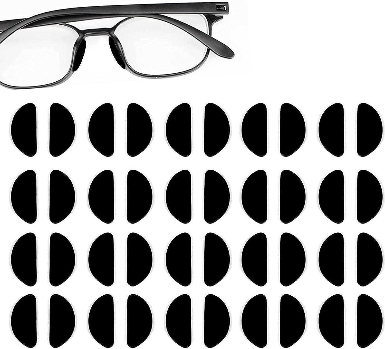 Clyhon 20 Pares de Gafas Almohadillas de Nariz de Silicona Almohadillas Adhesivas Antideslizantes, Protector de Nariz de Gafas Vasos Adhesivos de para Gafas Gafas de Sol (1mm Negro)