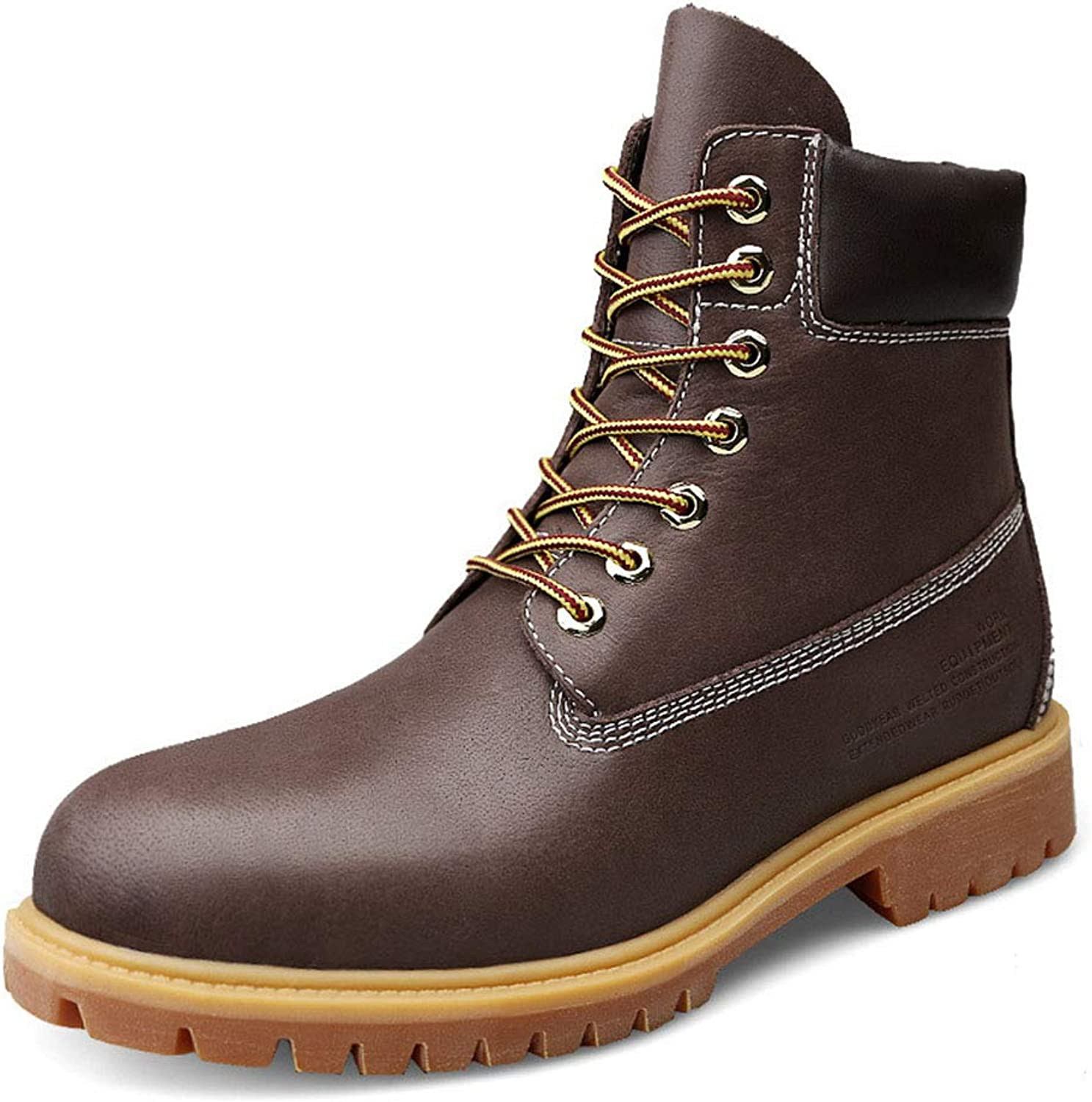 Men's New Boots Fall Winter Leather Martin Boots Plus Velvet Keep Warm High-top Tooling Martin Boots Non Slip Shockproof Camping Booties (color   B, Size   44)