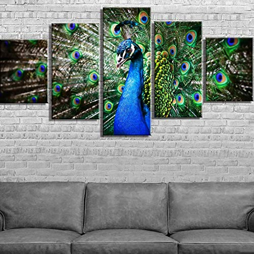 5 Canvas paintings Canvas Art Peacock Animal Poster Cuadros Decoracion Paintings on Canvas for Home Decorations Wall Decor Frameless