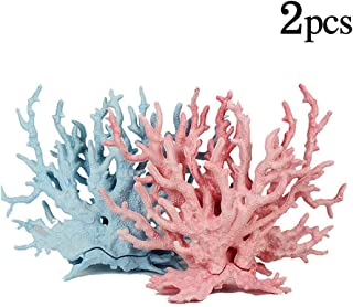 kathson Aquarium Coral Decor Pink and Blue Coral Reef Ornaments Artificial Plants Fish Tank Resin Decorations