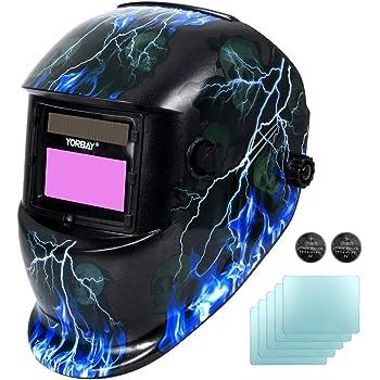 Yorbay Casco de soldadura Soldadores máscara de oscurecimiento automático de solar con 5 lentes de repuesto (relámpago cráneo) reutilizable