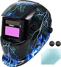 Yorbay Automatische Lashelm DIN 9-13 + 5 beschermglazen (Blauwe bliksem)