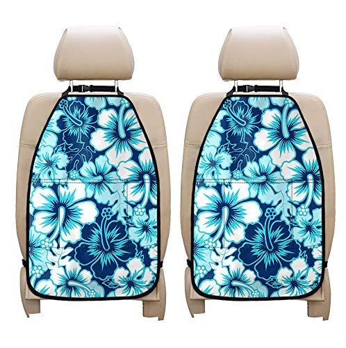 Coloranimal Hibiscus Flower Kick Mat-Full Set 2 Pack Car Seat Back Protector,Universal Fit Most Cars,Trucks Backseat Organizer and Seat Cover Storage Pocket Automotible Decorative Accessories,Blue