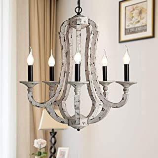 TZOE Rustic Wrought Iron Chandelier,5-Light Wood Color Candle Chandeliers,Vintage Style,22.5 inch Wide Farmhouse Pendant Lighting,for Dining Rooms,Bedroom,Foyer,Kitchen