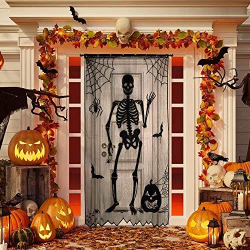 Homo Trends - Cortina de Halloween para decoración de puerta (104 x 213 cm), color negro