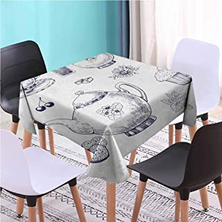 Zara Henry Design Blue and White Dust-Proof Square Table Cover, Hand Drawn Teapots and Cups Muffins and Bags Vintage English Tradition Navy Blue White Reusable Plastic Tablecloths, 52x52 Inch