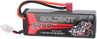 GOLDBAT 5200mAh 7.4V 50C 2S LiPo RC Battery Pack with Hard Case Deans Plug for RC Evader BX Car Truck Truggy Buggy Tank Helicopter Airplane Car Racing