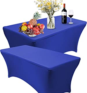 Reliancer 2 Pack 468FT Rectangular Spandex Table Cover Four-Way Tight Fitted Stretch Tablecloth Table Cloth for Outdoor Party DJ Tradeshows Banquet Vendors Weddings Celebrations(2PC 6FT, Royal Blue)