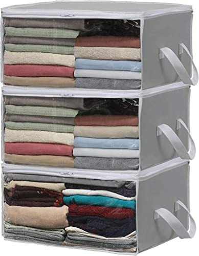 wholesale Simple Houseware 3 2021 Pack Foldable Closet Organizer Clothing Storage discount Box with Clear Window, Grey outlet online sale