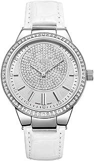 JBW Luxury Women's Camille 0.16 Carat Diamond Wrist Watch with Leather Bracelet White Band/Silver Dial