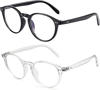 Blue Light Blocking Glasses Vintage Round Eyeglasses Frame Reduce Headache Anti Eyestrain UV400 Reading/Gaming/Phones Glasses