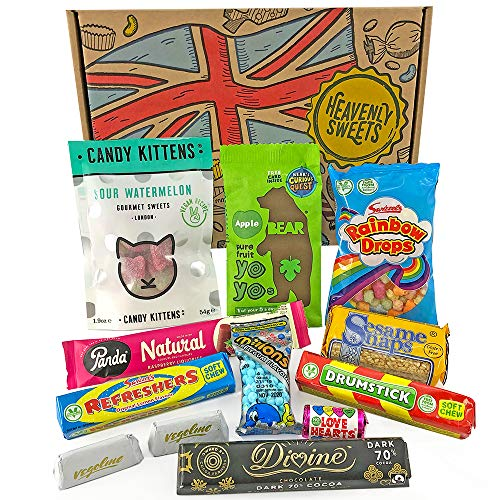 Heavenly Sweets Vegan Sweets and Chocolate Hamper Box - Selection of English and British Treats and Chocolates - Christmas, Birthday, Valentines Gift Idea - 12pcs of Goodness in a Cool Retro Package