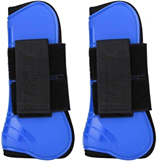 1 Pair Horse Jumping Protection Boot, Equine Knee Boot Jumping Riding Horse Tendon Boots Wrap(Blue)
