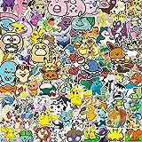 DINGQING Nouveau Japonais Anime Pokemon Graffiti Autocollant Mignon Dessin animé Tasse d'eau Autocollant adapté pour Ordinateur Portable Planche à roulettes Casque créatif étanche Autocollant