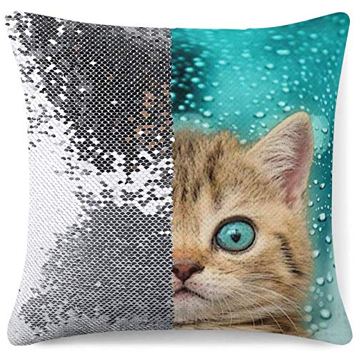 Sequin Throw Pillow Cover, Reversible Glitter Pillowcase Blue Eye Cat Decorative Cushion Pillow Cases for Sofa Couch Bed Car