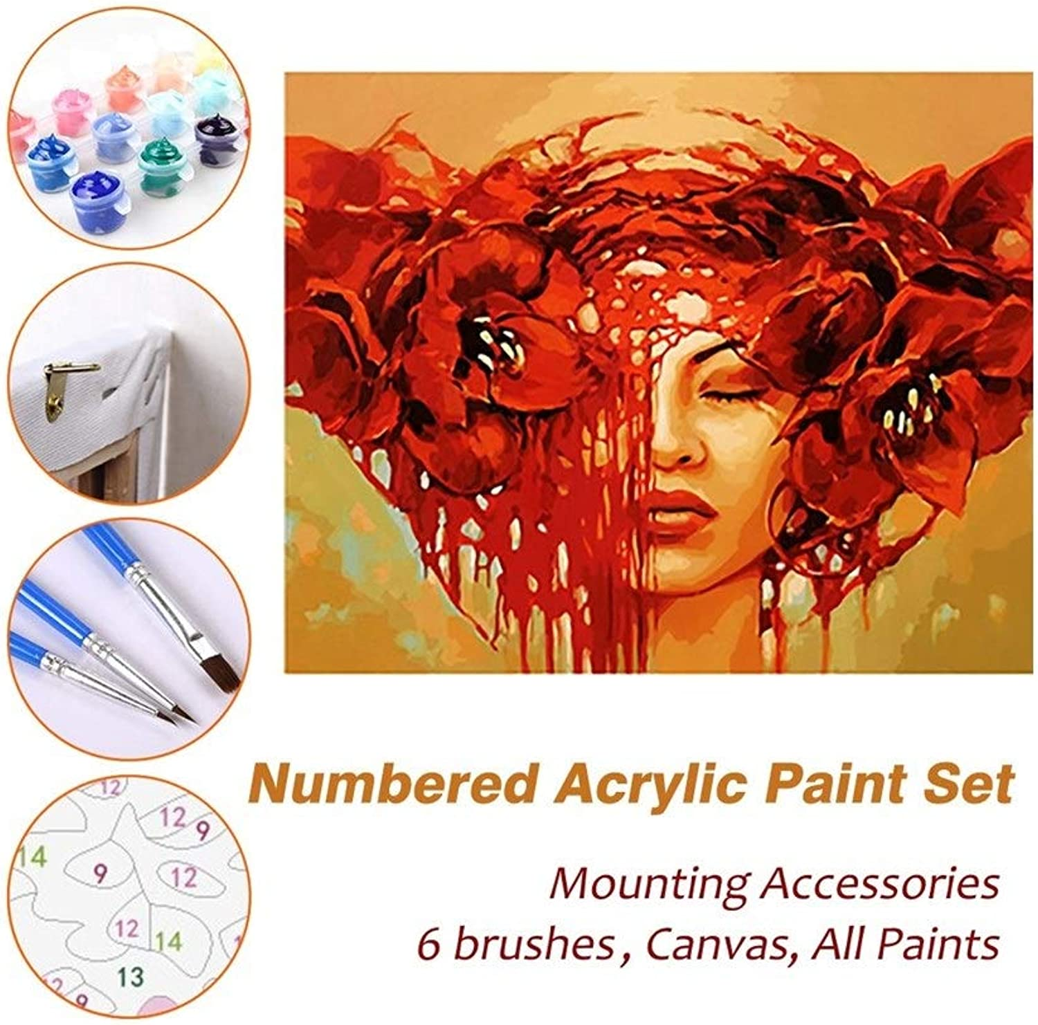 Puzzle House Paint Max Paint by Numbers Kits for Kids Adults Beginner Teens Pine Framed DIY Oil Acrylic Painting Paint Sets, Red Hair Woman 521 (color   With Pine Frame, Size   600mm x 750mm)