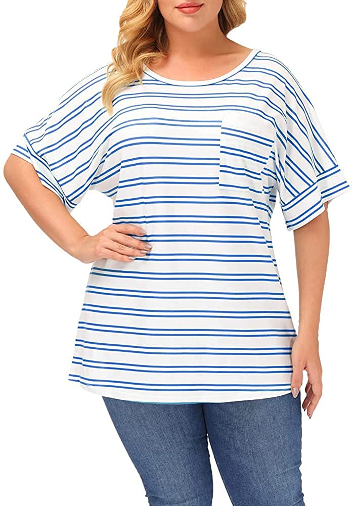 Gboomo Womens Plus Size Tops Summer Casual T-Shirts Striped Short Sleeve Tunic Shirts with Pocket