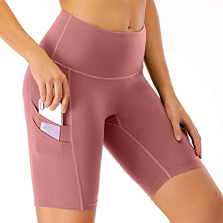 CongYee Women's High Waist Yoga Shorts with Side Pockets, Tummy Control Fitness Workout Running Bike Athletic Short Leggings