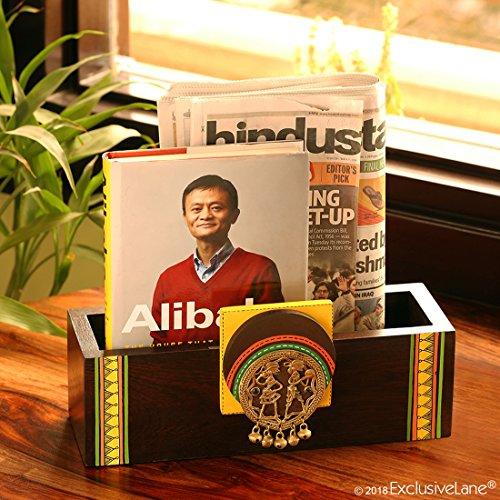 ExclusiveLane Teak Wood Home Decorative Wall Newspaper Organiser Stand Table Top Magazine Holder (Brown)
