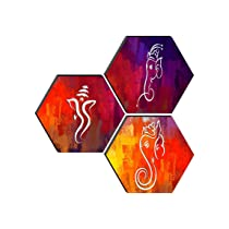 SAF Set of 3 Hexagon Ganesha Modern Art MDF Board UV Textured Painting 17 Inch X 17 Inch SANFHXS30585
