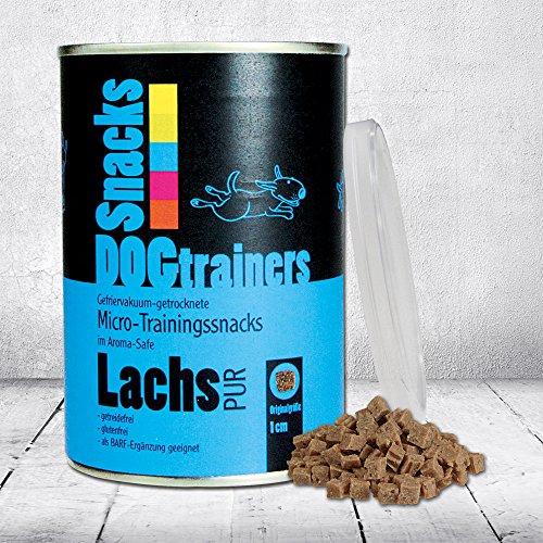 DOGTRAINERS Lachs PUR 1 x 110 g gefriervakuum-getrocknete, kleine PUR-Fleisch-Snacks für das Hundetraining und als leckere Belohnung