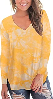 PinUp Angel Women Tops Tie Dye V Neck Basic Casual Long Sleeve Comfy Blouse T Shirt