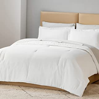 Bedsure Comforter Set Queen Size Bed White- Bedding Comforter Sets Queen Bed Set with Luxury Striped Fabric, 3 Piece Queen...