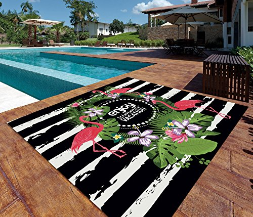 ADP HOME - Pareo Digital Flamingo Summer 100% Algodón, Ideal para Playa, Piscina o decoración. 240x220 cm