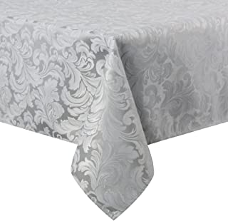 ColorBird Scroll Damask Jacquard Tablecloth Spillproof Waterproof Fabric Table Cover for Kitchen Dinning Tabletop Linen Decor (Rectangle/Oblong, 60 x 84 Inch, Silver Gray)